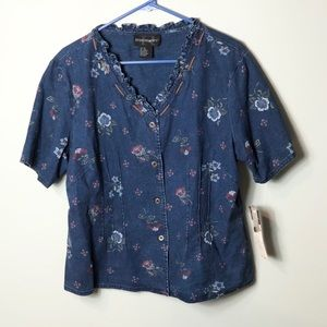 NWT requirements country blues button down shirt
